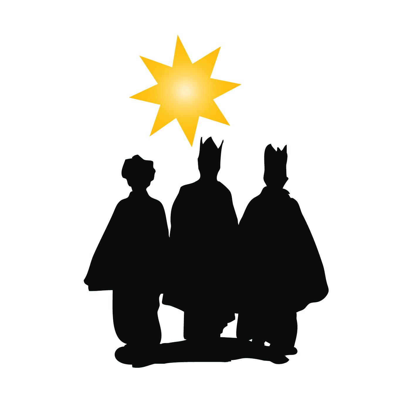 Schattenriss Sternsinger mit gelbem Stern